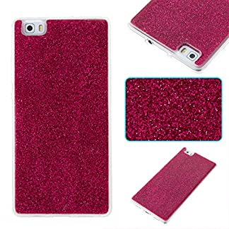 COZY HUT Huawei P8 Lite Case, Huawei P8 Lite Back Cover, Luxury Bling Shiny Sparkle Glitter Soft TPU Silicone Case Cover For Huawei P8 Lite - rose Red 14