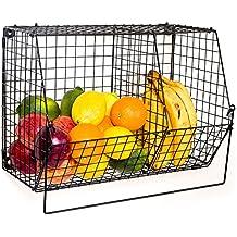 Cesta 27//× 20//× 12/cm 1 unidad Negro cocina /Cesta de metal con asas para ba/ño mecotech Cesto Cocina de pan cestas para estanter/ía multiusos cesta de alambre/ Oficina