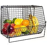 ChasBete pieghevole metallo basket frutta ciotole organizzatore cesto di stoccaggio a parete per cucina bagno