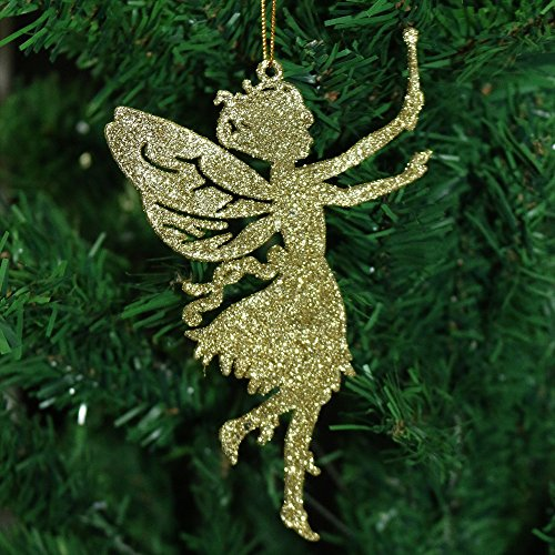 Robelli Pack of 6 Glitter Fairy Christmas Tree Hanging Pendant Decorations (1, Gold)