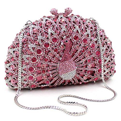 Santimon Donna Pochette Borsa Lusso Diamante Cristallo Pavone Borse Da Festa di Nozze Sera Con Tracolla Amovibile e Pacco Regalo 13 Colori rosa