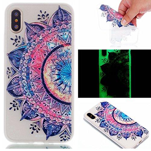 iPhone 8 Custodia, Copertura per iPhone 8, Case Cover protettiva antiurto per silicone per iPhone 8 , Soft TPU Bumper-Clear (Luce di notte-TPU) - piuma Feather Set 2