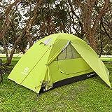 Bessport Zelt 2 Personen Ultraleichte Camping Zelt Wasserdicht 3-4 Saison Kuppelzelt Sofortiges Aufstellen für Trekking, Outdoor, Festival, mit kleinem Packmaß -Limeade
