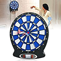 Buyi-World Diana Electrónica Portable Target con 6 Dardos Suaves para 8 Jugadores 159 Variantes, Diana Target con Pantalla LCD Juego de Fiesta Seguro para Adultos y Niños de Home Office Bar