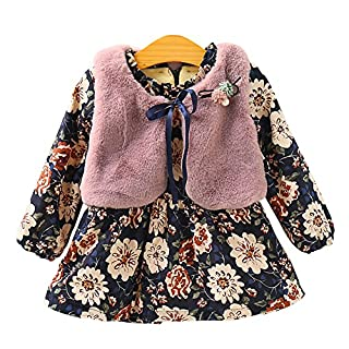 Amur Leopard Winter Autumn Baby Kids Toddlers Girls 2pcs Pink Faux Fur Shrug Bowknot Brooch+Floral Long Sleeve Princess Bubble Dress, Dark Pink, 1-2 Years/(for Height 90-100cm)