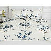 haus & kinder Floral Grace Bedsheet, 100% Cotton Double Bedsheet with 2 Pillow Covers, King Size, 186 TC (Blue)