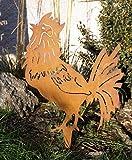 Edelrost Hahn 51x33cm mit Spieß Garten Beetstecker Bauernhof Geflügel Metall