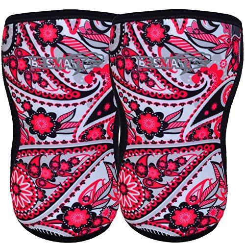 1 Paar Knieschoner für Kraftdreikampf, Gewichtheben - Kniescheiben-Stütze B, damen Herren Kinder, rosa blume, S (Ufc Gel Wrap)