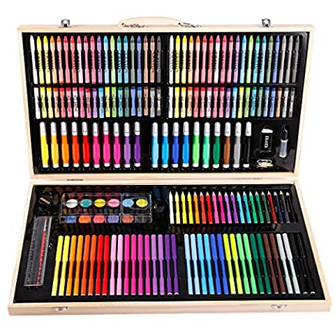 Boite 180pcs accessoire Peinture Dessin Stylo Crayon Pastel Marqueur Pinceau Feutre Cadeau Fête Noel