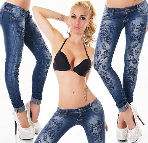 Skinny Jeans mit Stickerei Destroyed Jeans Flower Design blau Blue Stone Washed