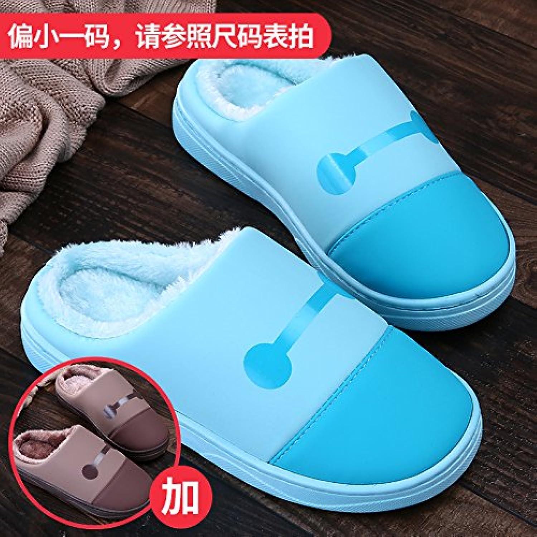 LaxBa Femmes Hommes chauds d'hiver Chaussons peluche antiglisse intérieur Cotton-Padded Slipper... Bleu Chaussures Slipper... Cotton-Padded - B077XP3FGZ - 6d06a9