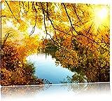 Paesaggio con lago e alberi, pittura su tela, Immagini XXL completamente incorniciate con grandi cornici di cuneo, foto muro Stampa artistica con cornice, più economico di pittura o di un dipinto a olio, non un manifesto o un cartello, Leinwand Format:120x80 cm