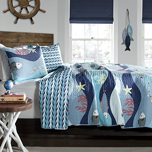 Lush Decor Sealife 3 Quilt Set, Full/Queen, blau -