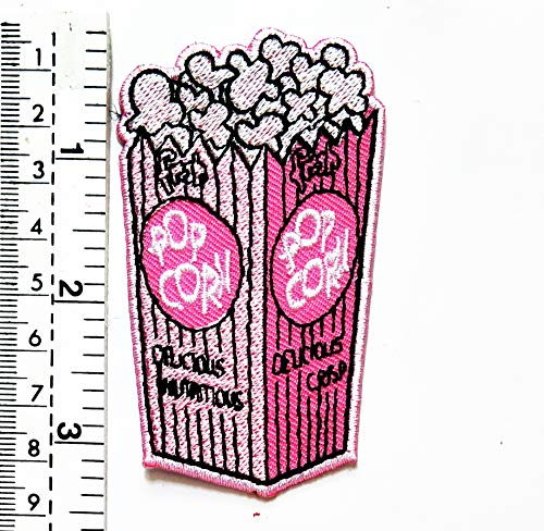 Popcorn Snack Food Popcorn in rosa Tasche Cartoon Kinder Kinder Patch Weste Jacke Biker Biker Biker Tattoo Jacke T-Shirt Aufnäher Aufbügler Aufbügler Badge -