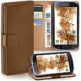Samsung Galaxy S4 Mini Hülle Braun mit Karten-Fach [OneFlow 360° Book Klapp-Hülle] Handytasche Kunst-Leder Handyhülle für Samsung Galaxy S4 Mini Case Flip Cover Schutzhülle Tasche