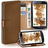 moex Samsung Galaxy S4 Mini | Hülle Braun mit Karten-Fach 360° Book Klapp-Hülle Handytasche Kunst-Leder Handyhülle für Samsung Galaxy S4 Mini Case Flip Cover Schutzhülle Tasche