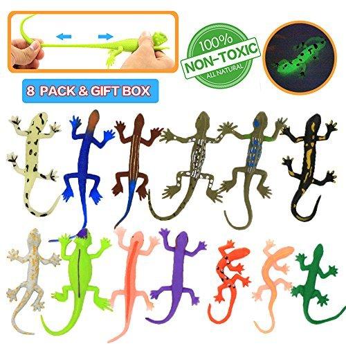 Spielzeuge in Form von Eidechsen,8 Stücke Gummiset,lebensmittelgeeignetes Material TPR,super dehnbar,mit einem geschenkten Lernkasten, Spielzeugfiguren ,Badespielzeuge,Gecko,Chameleon,Komodowaran