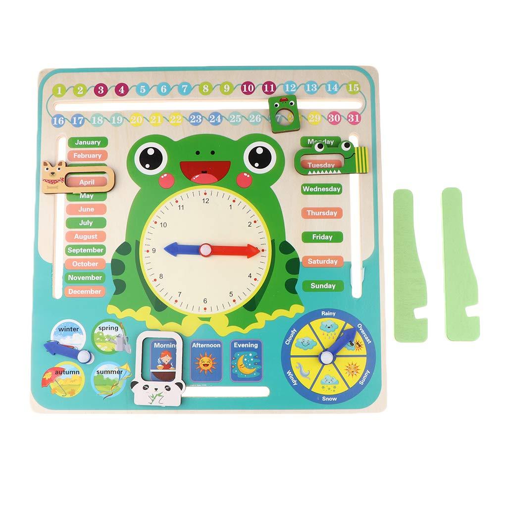 Calendario Legno Bambini.Fenteer Orologio Calendario In Legno Verde Giocattolo Educativo Per Bambini Giochi Legno