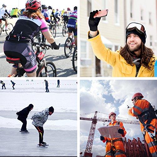 Touchscreen Handschuhe für Herren und Damen Winter Outdoor Winddicht Handschuhe mit Anti-rutsch Silikongel Warm Für Radfahren Skifahren Sports Smartphone/Tablet by Kungber – (XL, Schwarz) - 7