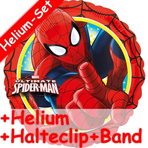 PIDER-MAN + HELIUM FÜLLUNG + HALTE CLIP + BAND * // Aufgeblasen mit Ballongas // Kindergeburtstag Deko Geburtstag Folien Ballon Luftballon Spiderman ()