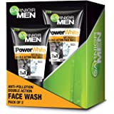 Garnier Men Power white Anti-Pollution Double Action Facewash, Pack of 2, 200g