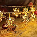 Metal Star Shaped Warm Whiter LED Light - Diwali Christmas Lights Serial String LED Bulbs For Decoration Lighting