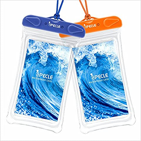 iSPECLE Waterproof Case, 2 Pack Clear Universal Cell Phone Waterproof Case Transparent Dry Bag Pouch Dirtproof for iPhone 6S Plus SE, Swimming Surfing Kayaking Boating Fishing Snorkeling - Blue