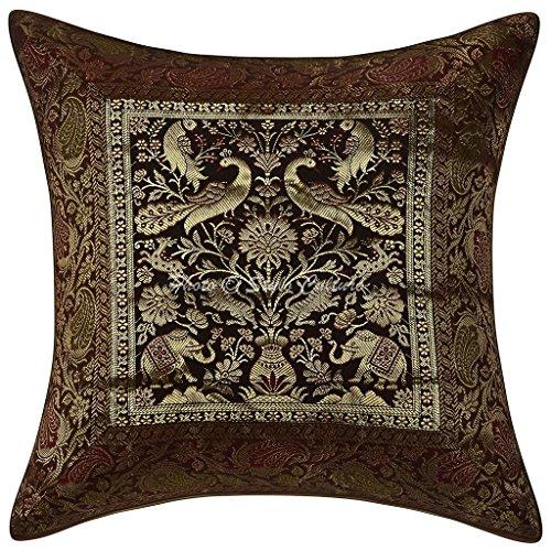 Stylo Cojín Decorativo de algodón Decorativo de la Cubierta Brocado Cojín de Elefante marrón 16x16 de diseño de la Almohada