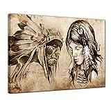 Kunstdruck - Indianer VIII, Tattoo Art - 60x50 cm - Leinwandbilder - Bilder als Leinwanddruck - Wandbild von Bilderdepot24 - Urban & Graphic - Amerika - Zeichnung von Indianern