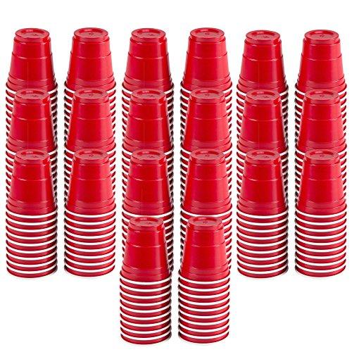 Haarstyling-Set rot CUP Mini Party Schnapsgläser Set (-/Bratenspritze) ideal für Partys, Picknicks, Heckklappen, BBQ 's, und Super Bowl Partys., plastik, rot, Mini
