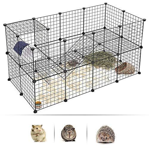 Box per animali domestici | recinzione da cortile portatile da interno in metallo con gabbia per piccoli animali per porcellini d'india, coniglietti, conigli e cuccioli | 12 pannelli, nero