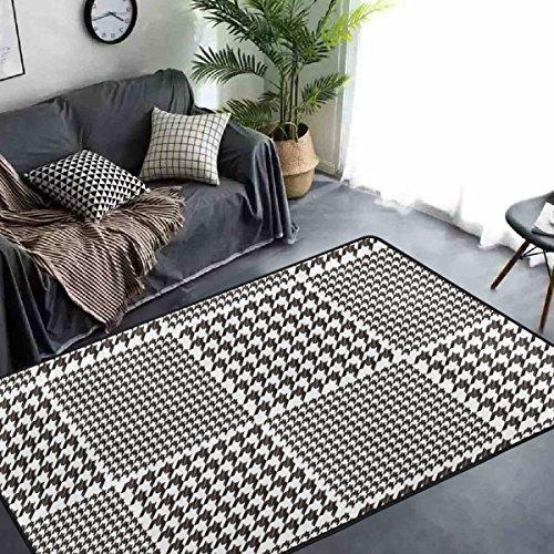 Collection Schwarz Gitter (yibaihe schwarz und weiß Collection-Gitter Lattice Geometrische Design Schöne Teppich Teppich Fußmatte für Hartholz Böden Wohnzimmer Schlafzimmer wasserabweisend rutschfeste weiche, 91 x 61 cm)