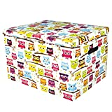 Ordnungsbox Dekobox aus Karton mit Deckel Motiv Eule klein 30 x 18 x 19 cm