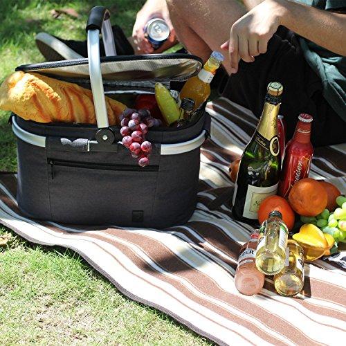618fNU3IBCL - ALLCAMP Bolsa Refrigeradora Aislada Grande de 22L Cesta Picnic Familia aislada Cesta de Picnic,Bolsa térmica Grande Negro