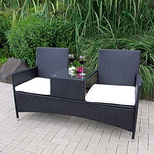 Gartenbank in Dunkelgrau aus Kunstrattan integriertem Tisch Pharao24