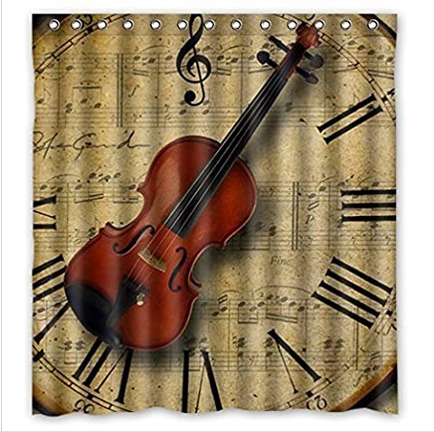 Personalized Amazing Violin pattern Waterproof mouldproof Bathroom 100% Polyester Shower Curtain 66(W)x72(H)inchs