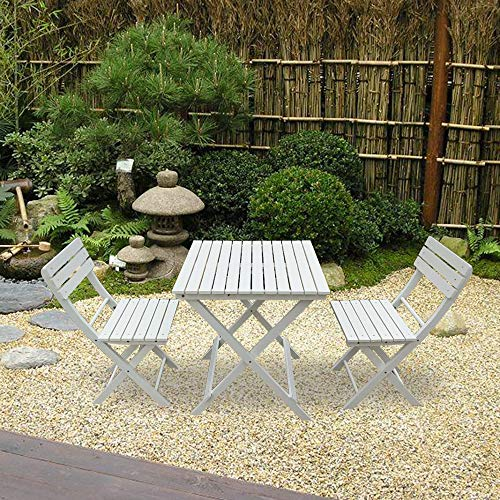 PananaHome Wood Folding Balcony Set Table and Chairs Outdoor Garden Conservatory Patio Bistro Dining Furniture Set White