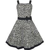 Sunboree Mädchen Kleid Leopard Drucken Sommer Strand Gr. 140-146