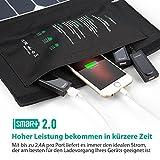 RAVPower 24W Solarladegerät mit 3 USB iSmart-Port (SUNPOWER® Solarzellen, 21,5-23,5% Umwandlungseffizienz, leicht, faltbar, wasserdicht) für Camping Wanderung Bergsteigerei für iPhone 6S, 6S Plus, 6, iPad Pro, Samsung Galaxy S7, S7 Edge, HTC, Motorola usw. - 5