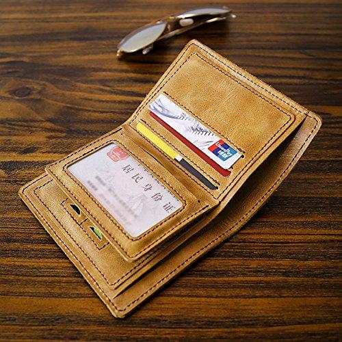 Leder Herren Geldbörse, Brieftasche, handgefertigte Kopf Schicht, Rindsleder, junge Persönlichkeit, Querschnitt, Retro Tasche, Frosted Kaffee Retro yellow