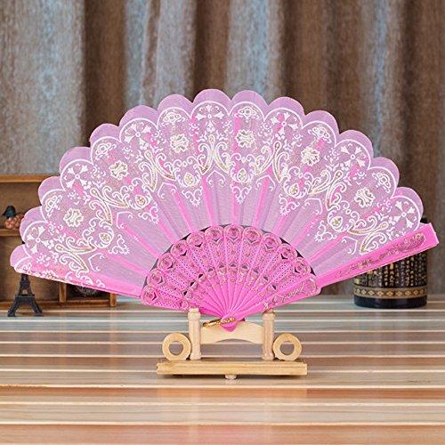 Janet Kostüm Weiss - MOTOCO Damen Faltfächer Blumenmuster Seidenfächer Handfächer Eleganter Tanzfächer Hochzeitsdekoration
