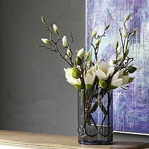 K&C Mangnolia Fleur de soie artificielle fleur bouquet de mariage Décor Fleur Décoration Blanc
