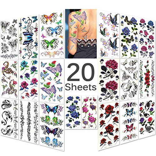 Lady up 20 fogli con tatuaggi temporanei per body art con rose, fiori, farfalle multicolore per donne, ragazze o bambine, 90 × 190 mm