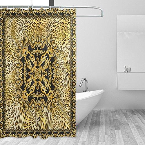 coosun Barock Leopard Duschvorhang Set Polyester Stoff Wasserabweisend Badezimmer Showe Vorhang Set Home Dekoration mit Haken, 66x 72L Zoll