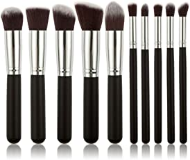 House of Quirk Premium Synthetic Makeup Brush Set, Black/Silver, 10 Pieces