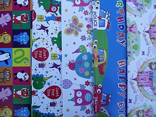 10fogli di carta da regalo per bambini, motivo: pirati, principessa, Ballerina, pasticcini, cupcake, gru, escavatori, sirene (2fogli ciascuno dei 5disegni)