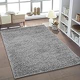 Shaggy Teppich Hochflor Langflor Teppiche fürs Wohnzimmer und Schlafzimmer geeignet sowie für die Küche und Kinderzimmer Ökotex 100 zertifiziert (150x150 cm quadratisch, silber grau)