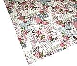 Retro Print Rose Kissenhülle u. Tischwäsche Postcardprint Vintage Look reine Baumwolle altrose (Tischdecke 140 x 200 cm)