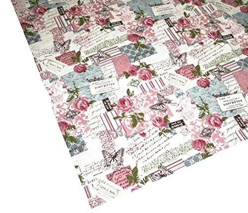 Retro Print Rose Kissenhülle u. Tischwäsche Postcardprint Vintage Look reine Baumwolle altrose...