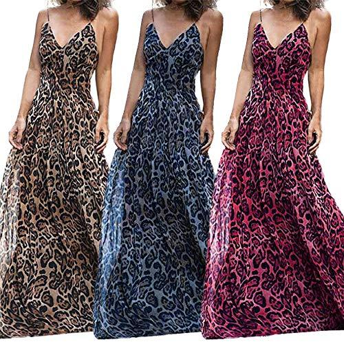 Setsail Damen Leopard V-Ausschnitt Sling Kleid Maxi-Kleid, Kleid, Hochzeitskleid, Party Bar Kleid...